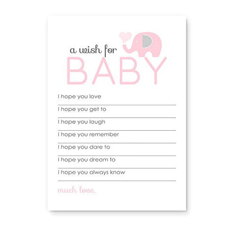 Pink Elephant Baby Shower Wishes Activity 20pc. Classic Girls Advice Card Set