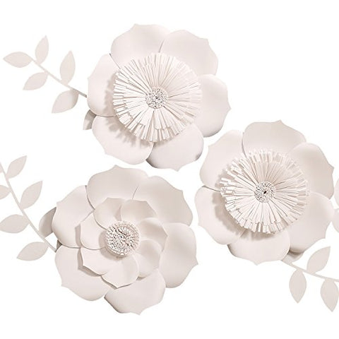 Ling's moment 3D Flowers, Large White Paper Flower, Handcrafted Flowers, Wall Hanging, Classic Giant Paper Flower, Wedding Backdrop, Baby Nursery Home Decor, Archway Decoration, 8  Blossom x 3