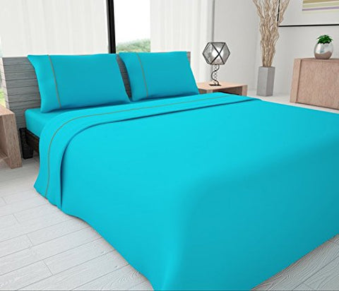 Novelty Bedding 625 Thread Count Egyptian Cotton Blend Solid Sheet Set with Piping Accents,Queen, Turquoise