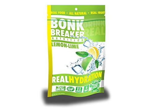 Bonk Breaker Nutrition Real Hydration Electrolyte Drink Powder, Lemon Lime, 40 Count Gusset Bag