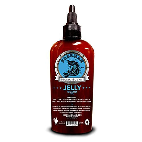 Bossman JELLY Beard Oil - World's First Jelly Beard Oil, Bonds to Beard Hair Better than Conventional Oils, 3-in-1 Moisturizing, Taming and Strengthening 4oz (Magic Scent)