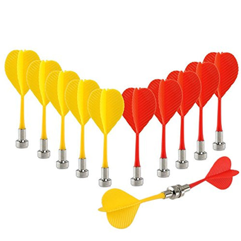Yalis Replacement Durable Safe Plastic Wing Magnetic Darts Bullseye Target Game Toys, Red/Yellow, 12 Piece