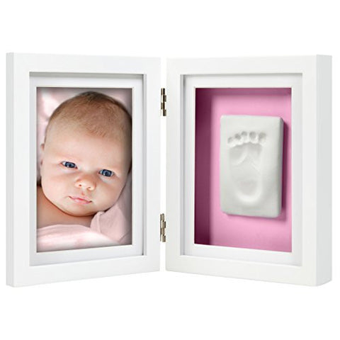Pearhead Babyprints Newborn Baby Handprint and Footprint Desk Photo Frame & Impression Kit - Makes A Perfect Baby Shower Gift, White