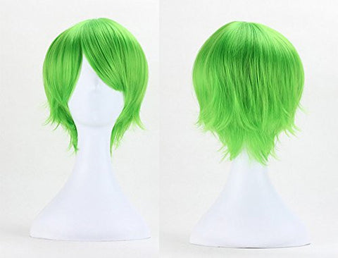 Anogol® Sexy Anime Lolita Short Green Wig Vocaloid Kaito Cosplay Wig Layered Straight Party Wigs