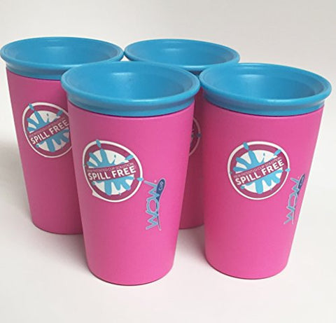 Wow Cup for Kids - NEW Innovative 360 Spill Free Drinking Cup - BPA Free - 9 Ounce (Pink),