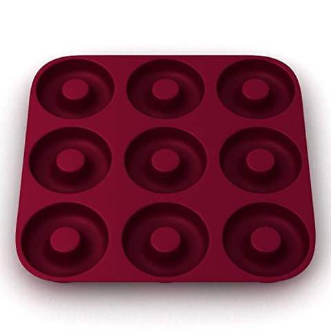 Large,100% Silicone - Ultra-Premium Doughnut Pan, Eco-Friendly; BPA Free, Super THICK 9 Cavity Silicone Donut, Bagel Pan, Non-stick; Heavy Duty Commercial Grade Doughnut Mold, Burgundy Wine