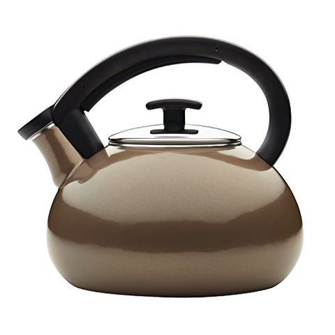 Anolon 46693 Allume Teakettles 2 quart Enamel on Steel Teakettle, Medium, Umber