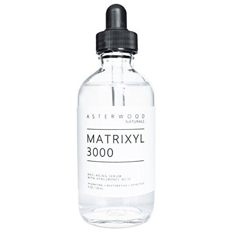MATRIXYL 3000 30% 4 oz Serum with Organic Hyaluronic Acid 20% - Official Sederma Matrixyl 3000 - Anti Aging, Anti Wrinkle - Collagen Boost - ASTERWOOD NATURALS - Clear Glass Bottle