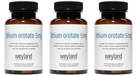 Weyland: Lithium Orotate - 5mg of Elemental Lithium (as Lithium Orotate) per Vegetarian Capsule (3 Bottles)