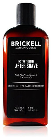 Brickell Men's Instant Relief Aftershave for Men – 4 oz – Natural & Organic