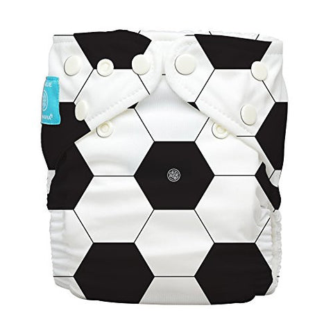 Charlie Banana 2-in-1 Reusable Diaper Hybrid AIO - Soccer, One Size