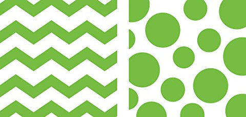 Creative Converting 192-Count Chevron and Polka Dots Paper Lunch Napkins, Fresh Lime