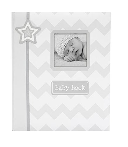 Lil' Peach Chevron Baby Memory Book, Gray