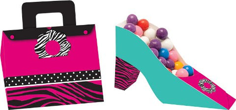 4-Count Party Treat Boxes, Pink Zebra Boutique Shoe and Purse Shaped