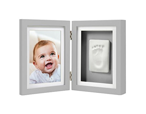 Pearhead Babyprints Baby Handprint and Footprint Desk Photo Frame & Impression Kit, Gray
