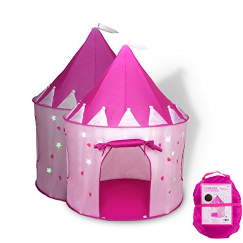 FoxPrint Princess Castle Play Tent with Glow in the Dark Stars, convinientlly folds in to a Carrying Case, your kids will enjoy this Foldable Pop Up pink play tent/house toy for Indoor & Outdoor Use
