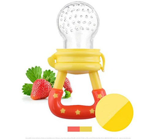 Teether Holder Best for Sore Gums Pain Relief Eco Friendly BPA Free Freezer Safe Baby Fresh Fruit And Vegetable Feeder Silicone Teat Yellow L