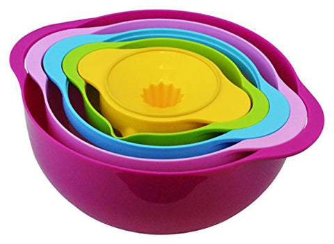 Southern Homewares SH-10173 5 Piece Compact Nesting Mixing Bowl, Colander, Sieve, Measuring Bowl, and Juicer Set Stackablt, Multi-Color