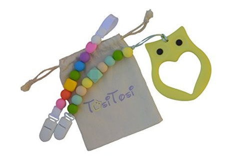 TosiTosi BPA-Free Food-Grade Silicone Baby Teether and 2 Pacifier Clips Set with Storage Bag