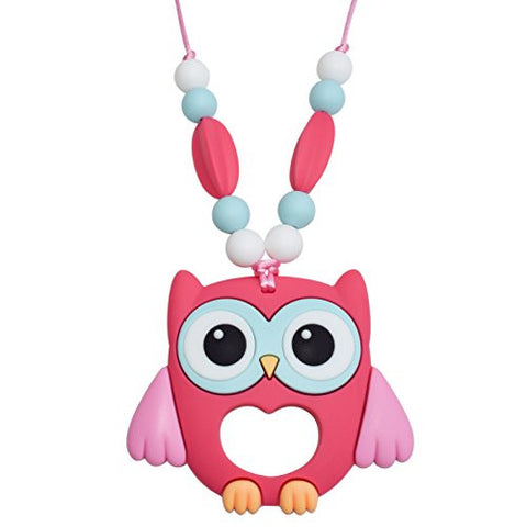 Munchables Sensory Owl Chew Necklace - Chewelry (Pink)