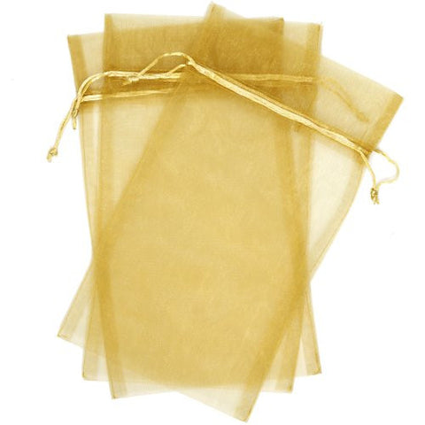 30 Designer Organza Fabric Gift Bags and Gift Pouches Party Gift Bags Gold 8.75 By 13.75