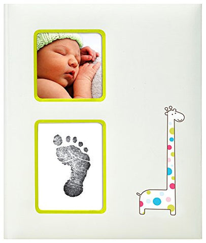 Pearhead Giraffe Baby Memory Book with an Included Clean-Touch Ink Pad to Create Baby's Handprint or Footprint, Ivory