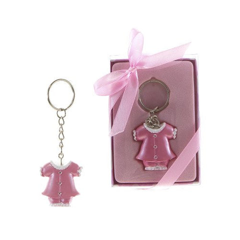 Lunaura Baby Keepsake - Set of 12 Girl Baby Clothes with Crystals Key Chain Favors - Pink