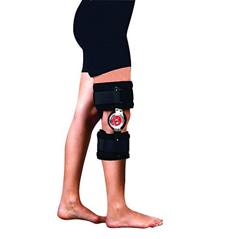 Soles Universal Hinged Knee Brace (Rom Orthosis) – Short, Adjustable Leg Stabilizer – Post Operative Injury Support for ACL, PCL, MCL or LCL – One Size Fits Most – Unisex