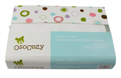 OsoCozy Prefolds Bleached Cloth Diapers, Size 2