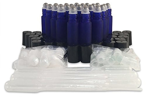 24 New, Premium Quality, 10ml Frosted Cobalt Blue Glass Roll-on Bottles with Stainless Steel Roller Balls, Glass Roller Balls, Plastic Roller Balls, Black Plastic Caps and (6) 3ml Plastic Droppers