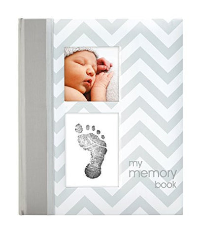 Pearhead Chevron Baby Memory Book with an Included Clean-Touch Ink Pad to Create Baby's Handprint or Footprint, Grey
