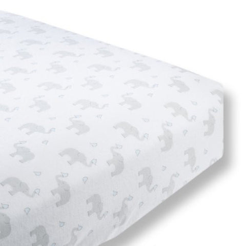 SwaddleDesigns Cotton Crib Sheet, Made in USA, Premium Cotton Flannel, Elephant and Pastel Blue Chickies
