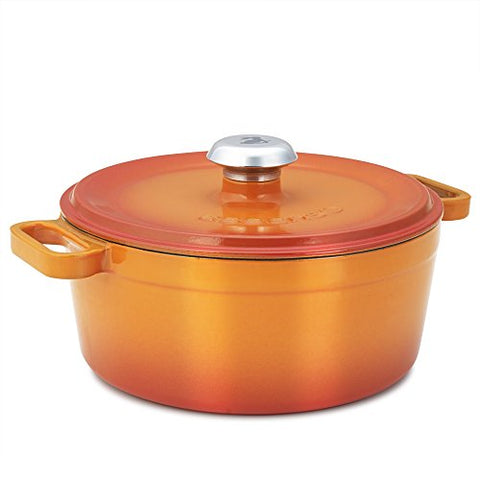 Essenso Chambery 3 Layer Enameled Orange Cast Iron Small Dutch Oven 3 qt
