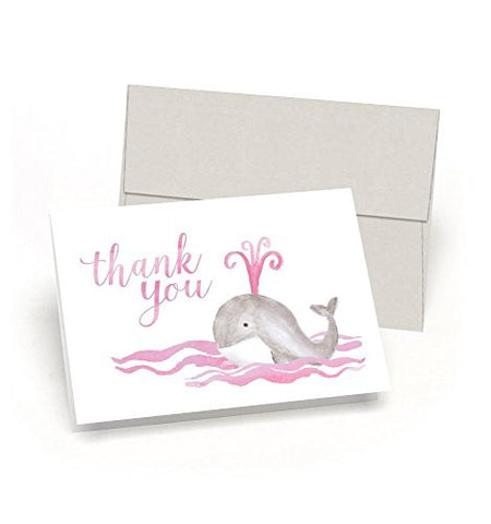 Whale Thank You! Baby Shower Thank You Cards (Set of 10 Cards + Envelopes) - Watercolor Baby Whale - By Palmer Street Press (Pink)