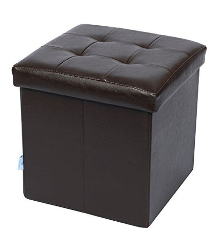 Fsobellaleo Faux Leather Folding Storage Ottoman for Baby Bookcase Easy to Move Brown 12.6 X12.6 X12.6