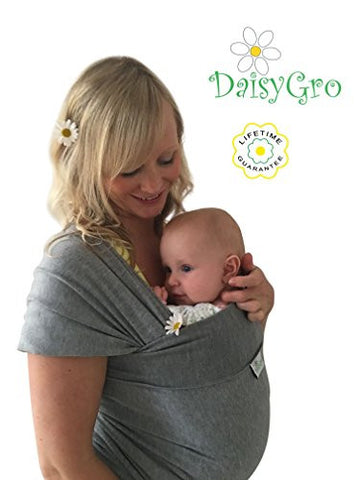 DaisyGro Breathable Soft Cotton Breastfeeding Cover Baby Sling Carrier Baby Wrap, Grey, Regular, 0-12