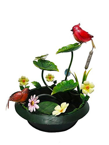 Continental Art Center 17 X17 X21.5  painted metal fountain set-cardinal