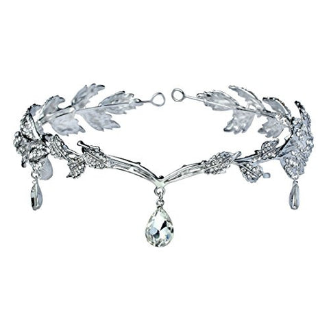 BABEYOND Women Wedding Bridal Bridesmaid Beaded Forehead Band Dangle Rhinestone Austrian Crystal Headband Headpiece with Gift Box (Silver)