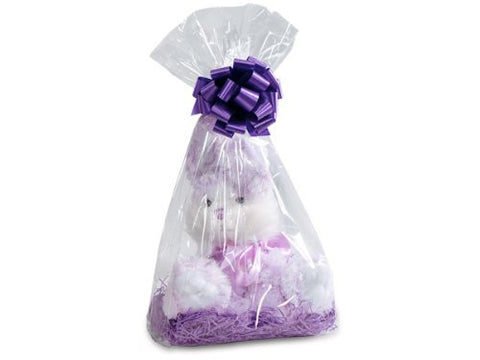 Clear Cellophane Bags Basket Bags Cello Gift Bags Gusset style bag 7 in. X 4 in X 18 In.