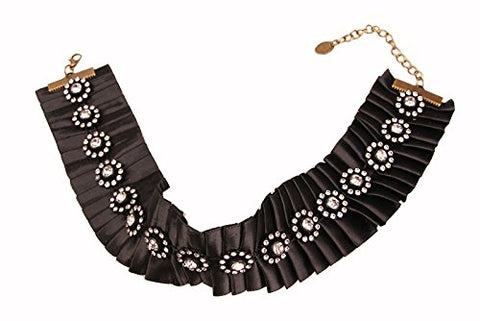 Shinywear Party Wedding Prom Crystal Choker Necklace for Girls Womens Sexy Vintage Black Ruffled Rhinestone False Collar Novelty
