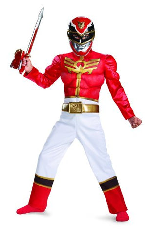 Disguise Power Ranger Megaforce Red Ranger Boy's Muscle Costume, 7-8