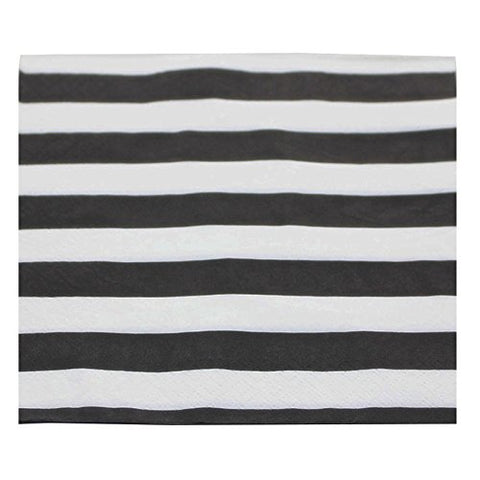YouMeBest Biodegradable Striped Paper Party Napkins,Black, 100 Count