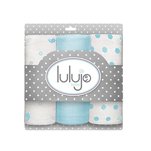 Lulujo Baby Muslin Cloths, Brilliant Blues, Mini, 3 Count