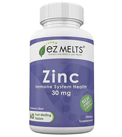 EZ Melts Zinc, 30 mg, Fast Melting Tablets, All Natural Blueberry Flavor, Immune Health Vitamin Supplement