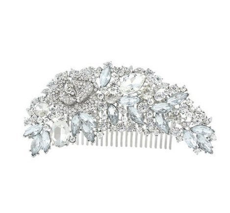 Rhinestone Crystals Comb Clear Flower Hair Comb for Wedding Hair Accessories Bridal Comb