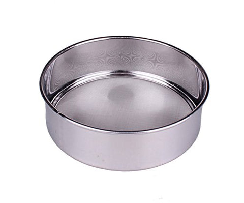 Rykey Professional Round Stainless Steel Flour Sieve with 60 Mesh (7 Inch, 18/8 Stainless-Steel)