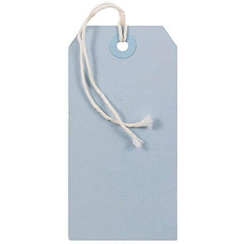 JAM Paper® Gift Tags with String - Medium - 4 3/4 x 2 3/8 - Baby Blue - 10/pack