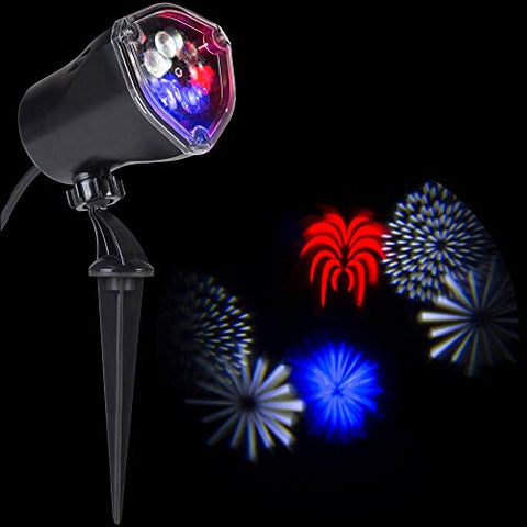 Fireworks LightShow 10.24 in. LED Whirl-a-Motion-4th of July (RWWB) Stake Projector