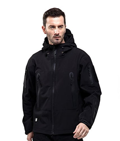 FREE SOLDIER Men Outdoor Tactical Softshell Jacket Waterproof Army Military Hooded jacket (Black L)