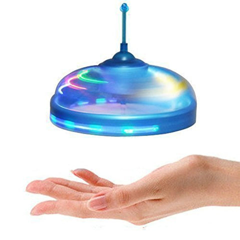 Geekercity Cute UFO Flying Disc - Mini Infrared Sensor Flying Saucer UFO Hand Induced Hovering and Floating Flight Hand Movements Toy UFO Magic Trick Toys with LED Lights (Blue)